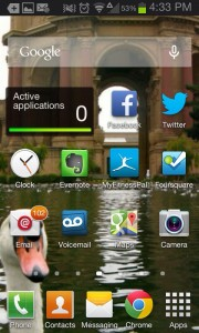 Out with the old... The old TouchWiz launcher from my Galaxy SII.