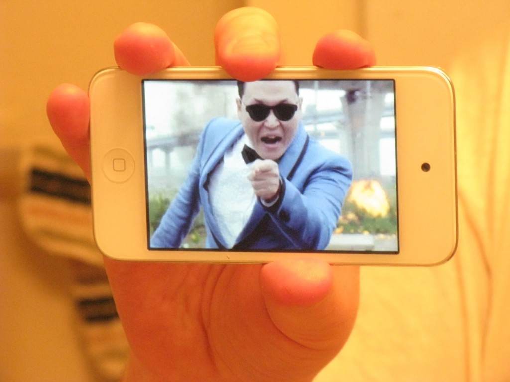 "A still from PSY's video ""Gangnam Style"" on my iPod touch. Dressing as PSY is an unrealized costume idea from a couple of years ago."