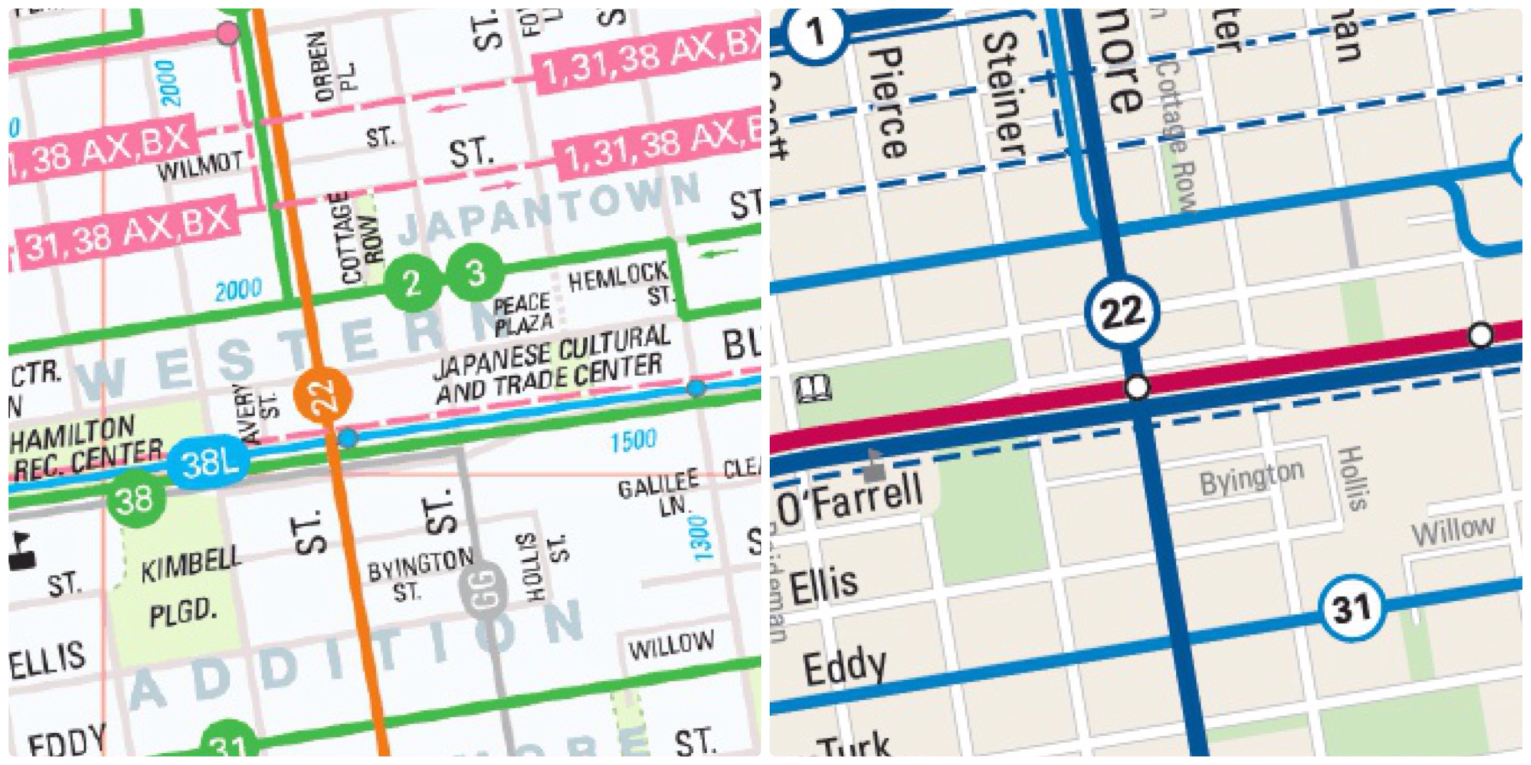 New Muni map offers cleaner design, but misses key info ... Sfmta Route Map on samtrans route map, san francisco route map, wrta route map, c-tran route map, ac transit route map,