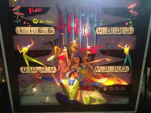 The A-Go-Go pinball machine on display at the 2014 Pin-a-go-go festival in Dixon, California.